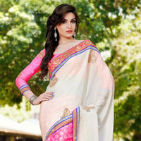 Tranquil Off White & Pink Embroidered Saree