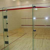 Squash Court Wooden Flooring Glass Back Wall