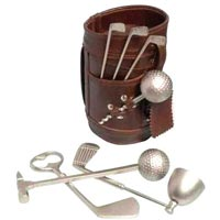 Leather Golf Bar Set