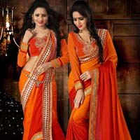 Embroidered Crepe Sarees
