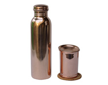 Copper Water Bottle With Matching Glass