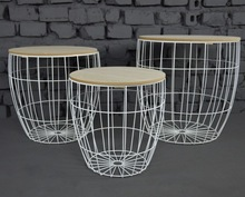 Metal White Coated Set of 3 Pieces Wire basket Side table