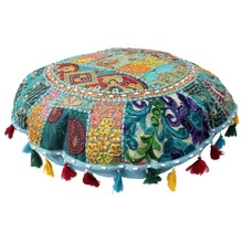 Handmade Round Floor Cushion Cover pouf