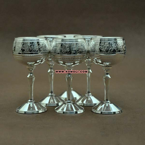 Hand crafted silver shot glasses
