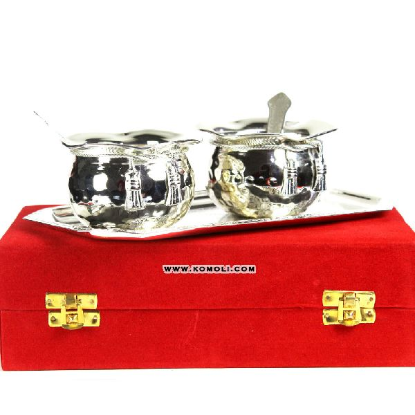silver plated handi tie bowl set