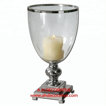 Nickel Plated Clear Glass Candle Holder
