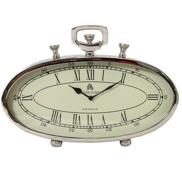 oval shape stainless steel clock