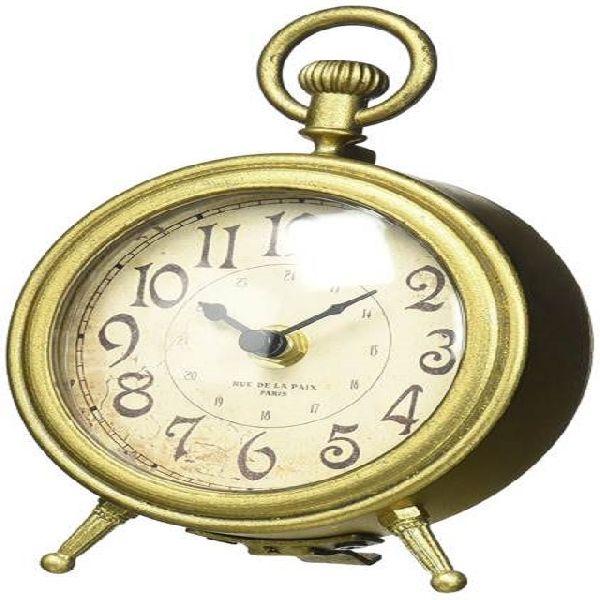 table metal gold clock