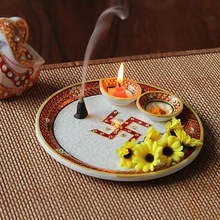 Marble Pooja Thali Plate Handicraft