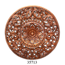 Carved Wooden Room Wall Decorative Panel Lotus Flower