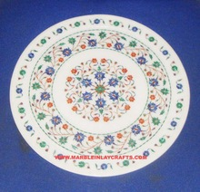 Handcrafted Stone Marble Inlaid Decorative Plate