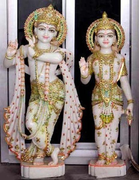 White Marble Religious Radha Krishna Statue