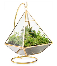 BRASS TRIANGLE TERRARIUM STAND