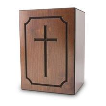 Cross Print Wood Cremation Urn