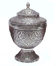 EMBOSSED SILVER CREMATION URN