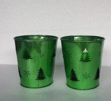 GREEN GALVANIZED CHRISTMAS BUCKET