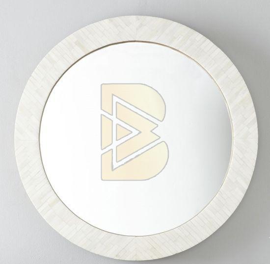 Bone Inlay Full Bone Round White Mirror