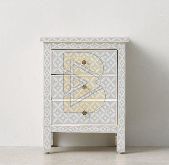 Bone Inlay Geometric Design Gray Bedside Table