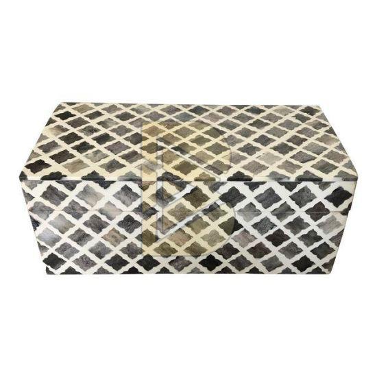 Bone Inlay Moroccan Design Light Wooden Colour Box