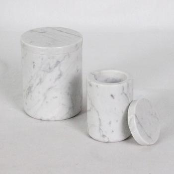 Decorative Round White marble salt box