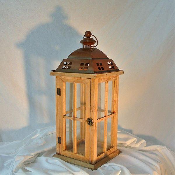 Metal Top Wooden Lantern