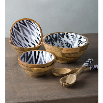 Round Mango wood salad bowl set
