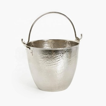 Round Silver Colour small decorative Metal Bucket With Handle