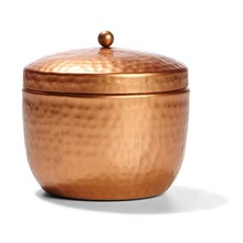 Tin Metal Candle Box With Lid In Copper Plated
