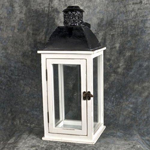 Wood white decorative metal lantern Hurricane