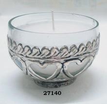 Bowl Shape Silver Glass and Brass Votive