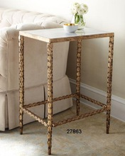 Brass Marble Top Side Table