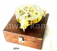 Brass Pocket Compass with Box