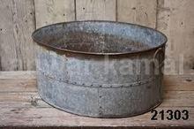 Galvanized Metal Garden Flower Pot