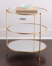 Glass Brass Round Side Tables