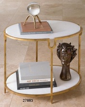 Marble Iron Round Side Tables