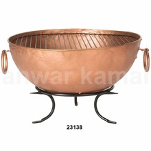Round Copper Finish Bowl Fire Pit