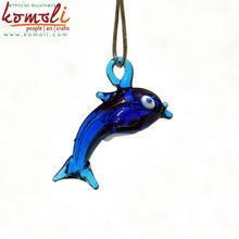 Blue murano glass dolphin figurines pendant fish