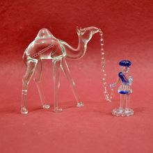 Camel and Man glass figurine