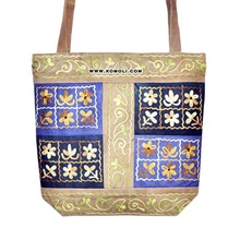 Embroidered suede leather tote bag handbag