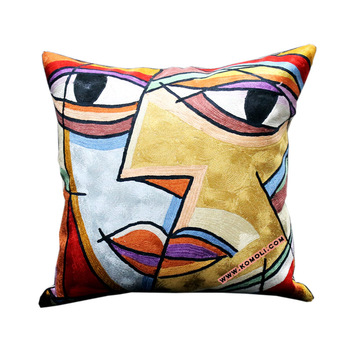 Faces Picasso Indian hand embroidered designer handmade cushion covers bulk