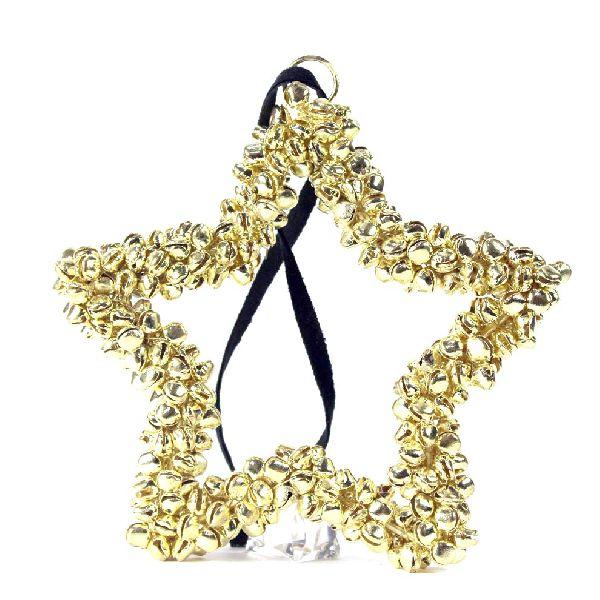 gold heart star metal jingle bell