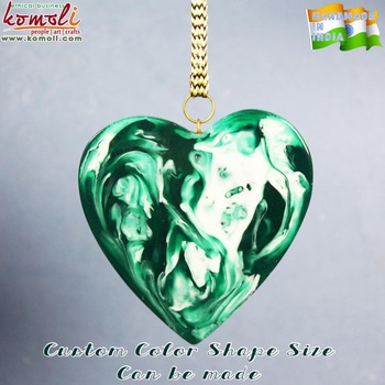 Green flat glass marble heart Ornaments