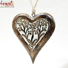 Hand carved wood heart shape Christmas blank ornaments