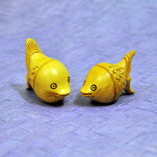 Hand made wood figurines carving fish