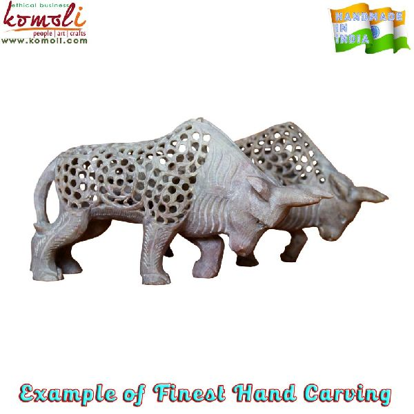 Handmade stone carving bull statue