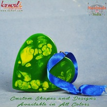 Heart shaped green handmade glass