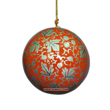 Red silver hand painted 2018 Christmas ball bauble crafts