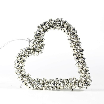 Silver heart flat metal jingle bell