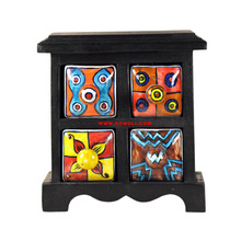 wooden ceramic drawer jewelry  stand