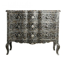 Black Mother of Pearl Inlay French Chest Of Drawer